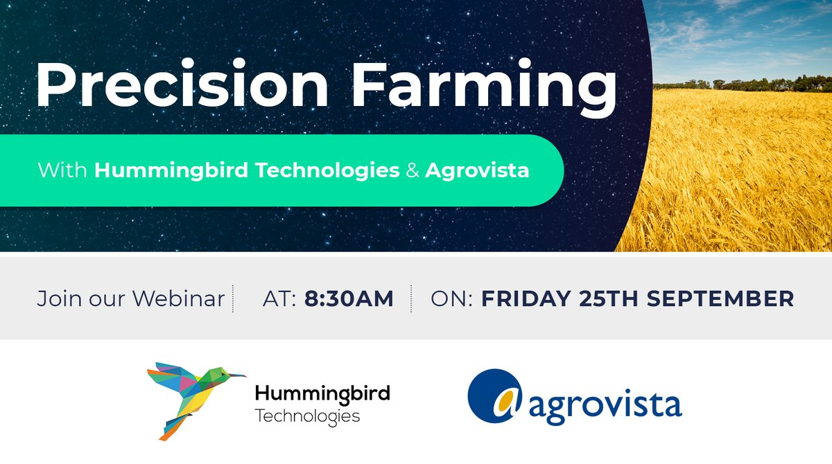 Together with our partners @AgrovistaUK we invite growers to take part in our Precision Farming webinar on 25th September. Register here today! https://t.co/qRc1d4ba3x  #agtech #farming #AI https://t.co/5mEXdtABiw