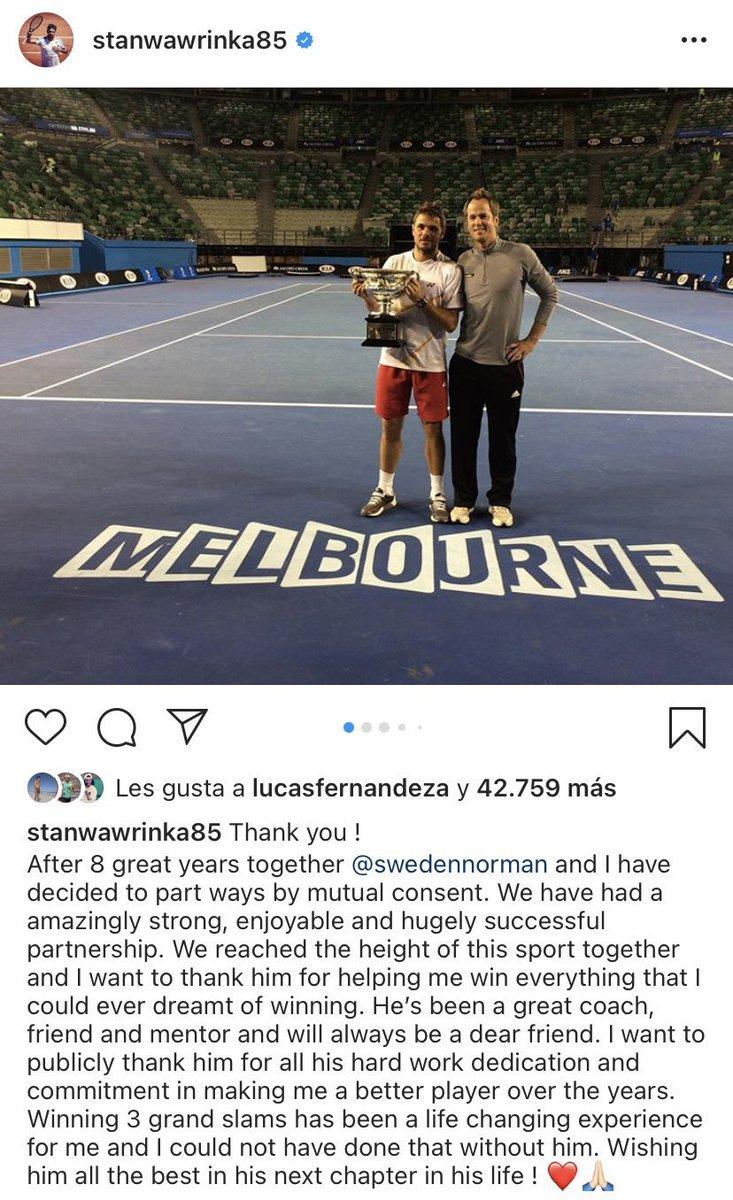 Stan Wawrinka-Magnus Norman, después de Rafa-Toni, quizás sea la mejor dupla de los últimos años. El suizo anunció que dejará de ser entrenado por el sueco, el coach que lo llevó a ganar sus tres Grand Slams y alcanzar el podio del ranking ATP. https://t.co/Hg5ySc8VI9