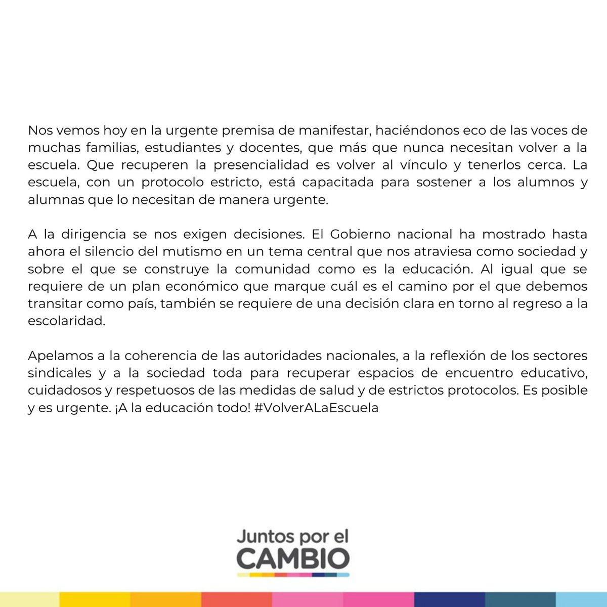 """""""LA EDUCACIÓN NO CAMBIA EL MUNDO, CAMBIA A LAS PERSONAS QUE VAN A CAMBIAR EL MUNDO"""" Los chicos y los docentes necesitan #VolverALaEscuela #volveralasaulas https://t.co/HQ3ivtnbIj"""