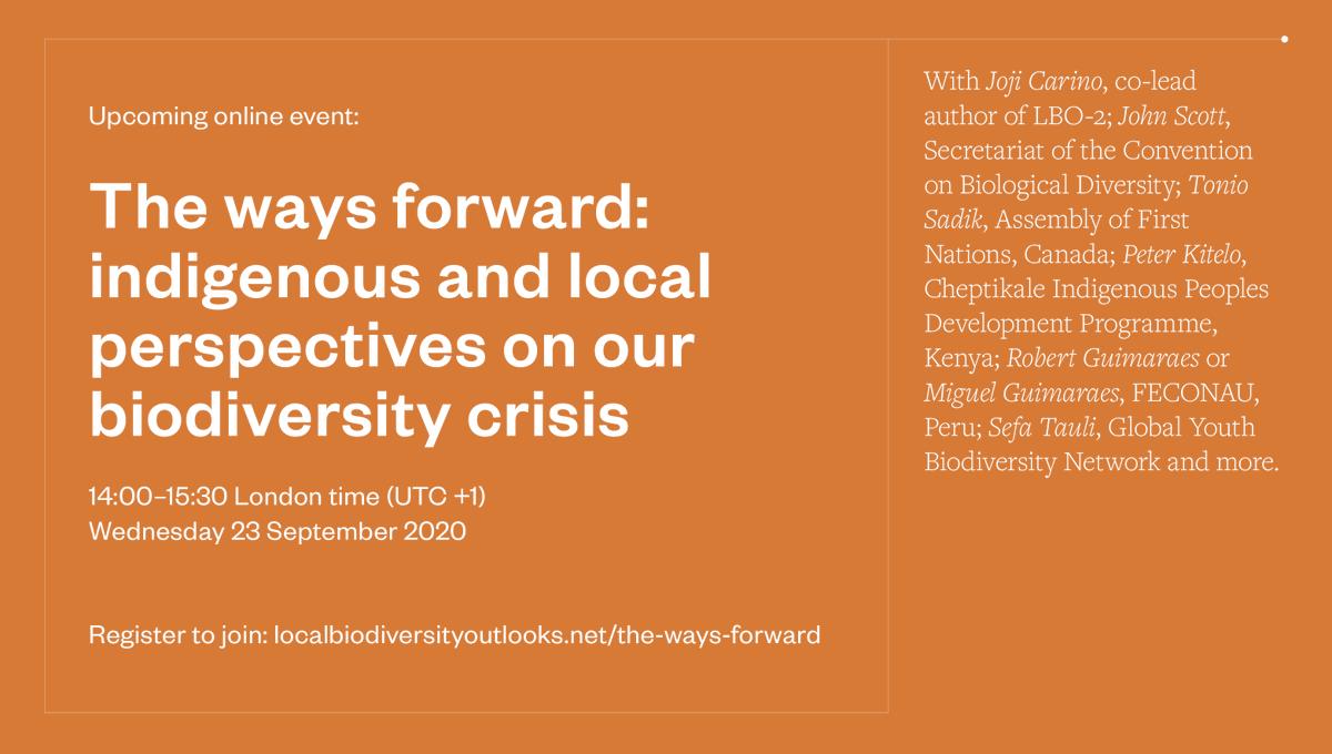 Ahead of the #UN Biodiversity Summit, join   🔸 @UNBiodiversity 🔸 @kuahawaii 🔸 @GYBN_CBD 🔸 @AFN_Updates 🔸 @tsadik1 🔸 @feconau1  & more.   🗓️  September 23rd  🕚  14:00 London time UTC+1 ➡️  https://t.co/WObMukckly   #LBO2 #UNGA75 #Biodiversity2020 #VoiceForThePlanet https://t.co/2gjsgDCyQU