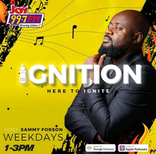 #IGNITION with Mr @sammyforson is still playing make sure you tune in to @Joy997FM 🔥🔥🔥🔥💯💯💯💪💪💪💪💪 https://t.co/GrLnyNpJ9G