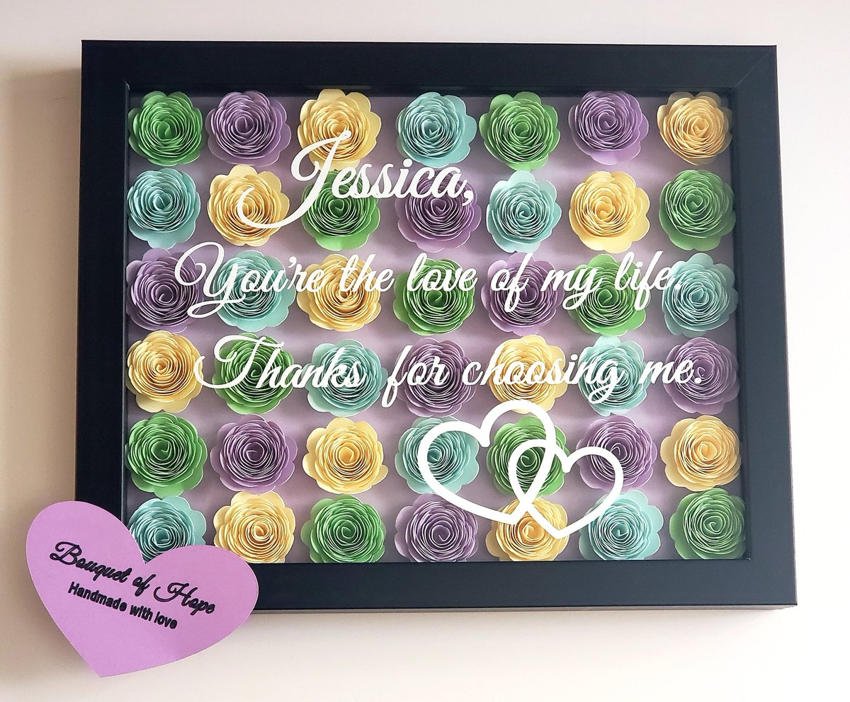 This shadow box is being sent today to a man who reached out to design a custom gift for his wife, to celebrate their 1 year anniversary. He chose every rose color, the font, & what he wanted to say. Thats so special & I know shell cherish this forever. Congrats to them both!💞