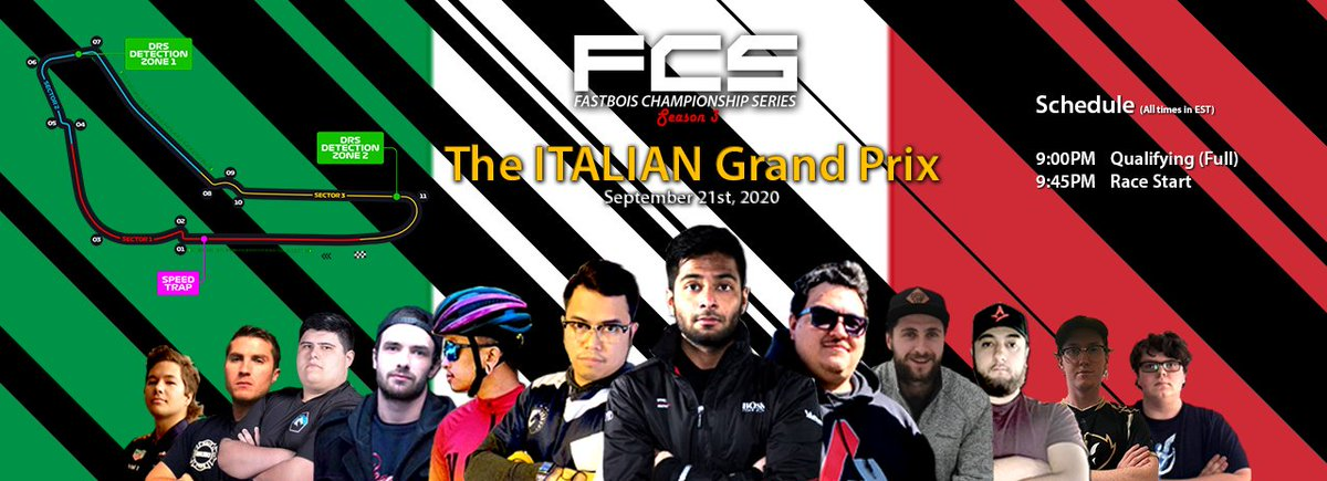 Tonight is the Italian Grand Prix for the #FCSLeague!  Tune in to some of the action at https://t.co/jxQdUMiVra   #FCSLeague #FastBoisChampionshipSeries #F12020 #F1Esports https://t.co/103Iqop9lX