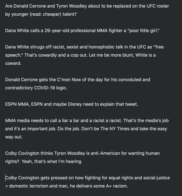 Latest podcast and there's a lot going on. Probably my most heated discussion with, well, myself. Subscribe for free - https://t.co/E5QbOIRNdN #DanaWhite #ColbyCovington #UFC #DonaldCerrone #TyronWoodley #MMAmedia https://t.co/mQCDgFhj7o