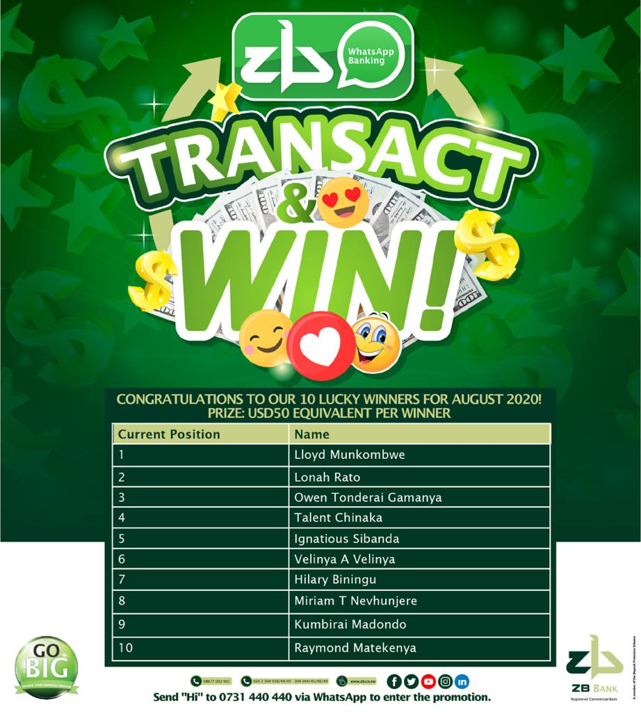 Congratulations to the winners of the @ZB_Bank Transact and Win Competition for August 2020.  #GoBig #FinancialFreedom https://t.co/zm786jXUvS