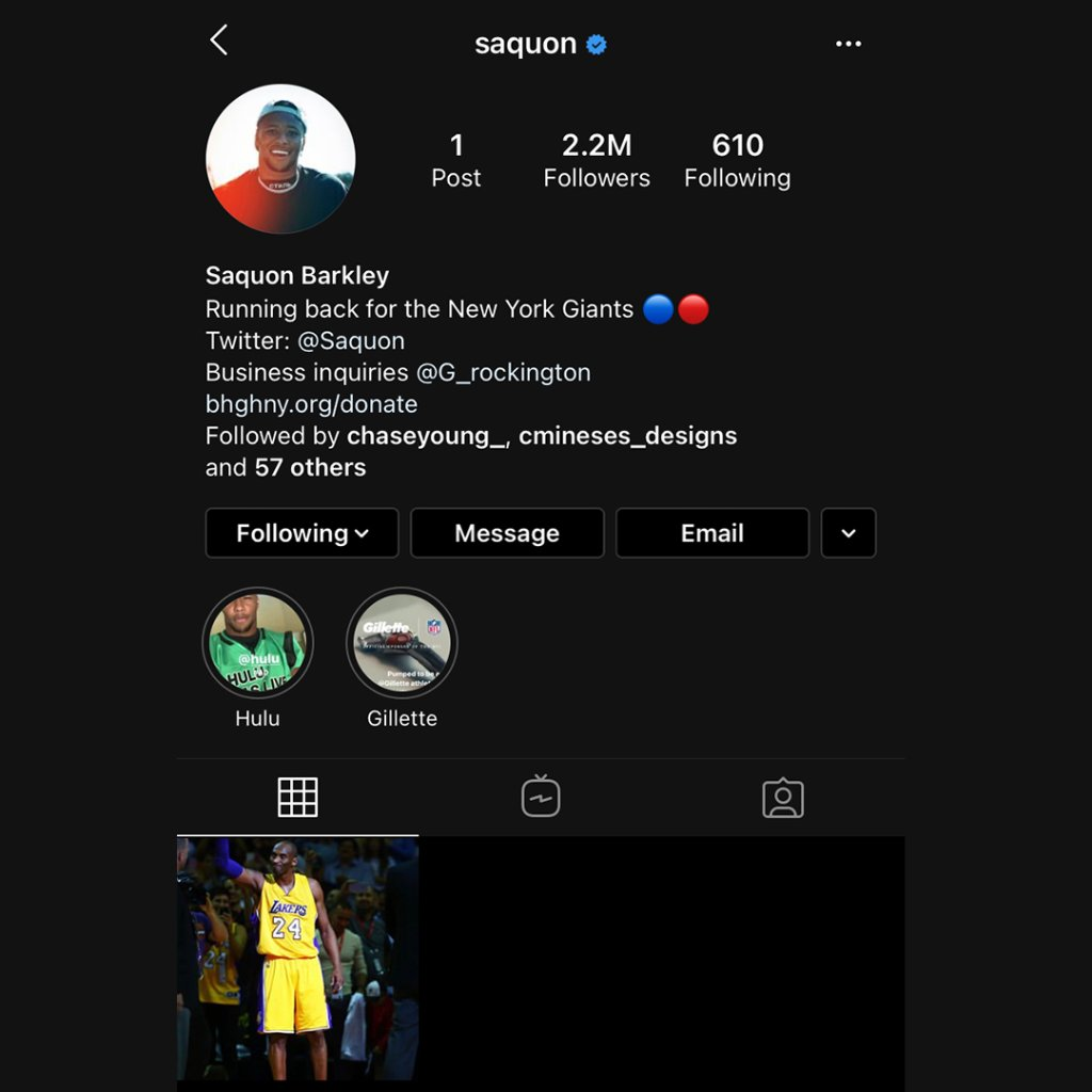 Saquon deleted all of his IG posts except for one. A picture of Kobe. #MambaMentality