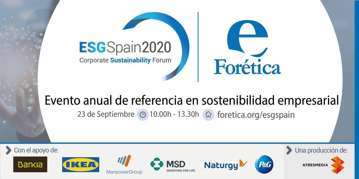 El miércoles tienes una cita con el mayor encuentro empresarial sobre #Sostenibilidad liderado por @foretica #ESGSpain2020 y en el que participará P&G.   Puedes consultar más información aquí:   https://t.co/dMrthe2Z40 https://t.co/flJYThW7Ce