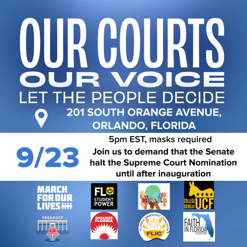 Join a coalition of organizations as we protest outside of Marco Rubio's Orlando office to demand that the Senate halt voting on Trump's supreme court nominee. Trump's actions are not illegal but they are unethical and not indicative of RBG's final wishes https://t.co/PyM14DPgwI https://t.co/xefo32qozl
