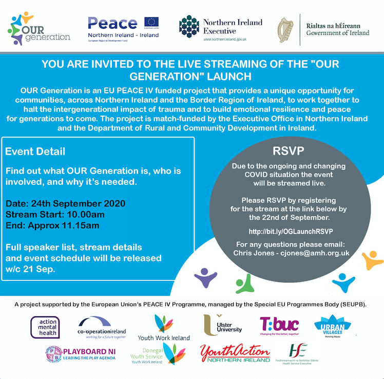 Delighted to invite you to the launch of OUR Generation, our #PeaceVI programme.   Led by @amhNI, our team at @UlsterUni will support the delivery of ACEs & trauma informed peacebuilding interventions to young people in deprived & border areas.  Regsiter https://t.co/vHuOKEU3gY https://t.co/baebgcvoGb