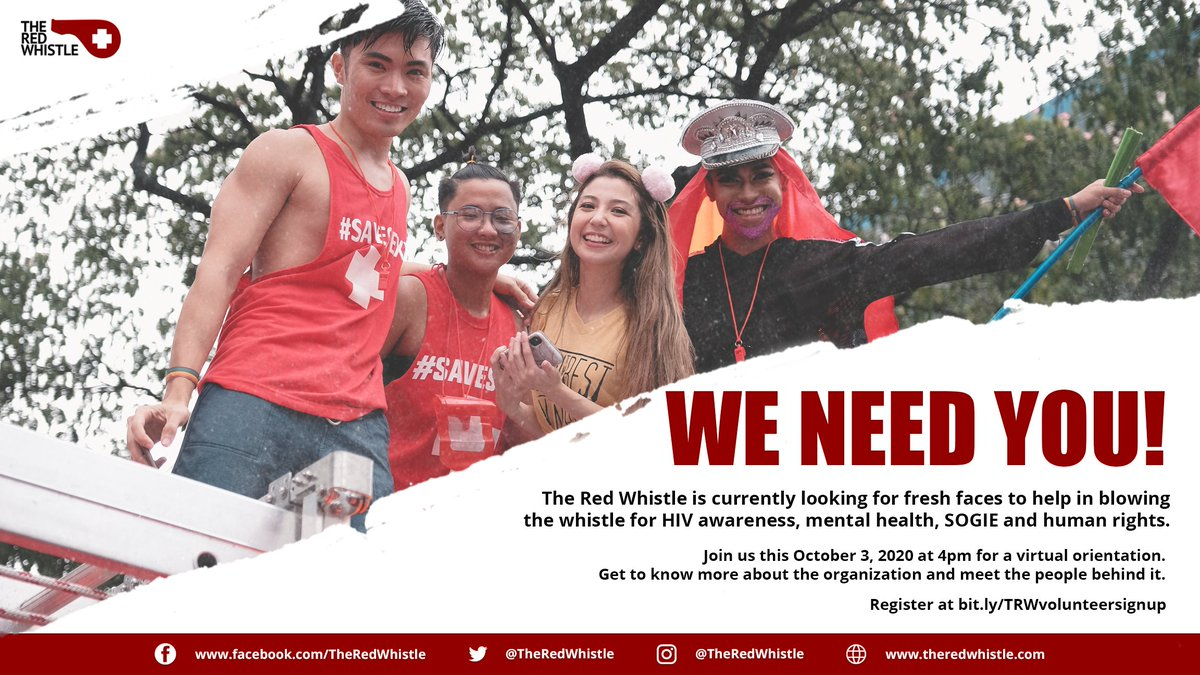 Heads up! The Red Whistle is in need of fresh faces to raise awareness for HIV, mental health, SOGIE and human rights.  Join us this October 3, 2020 for a virtual orientation.   Register at https://t.co/g9fw7u5N5Q https://t.co/sGsGnaU5mZ