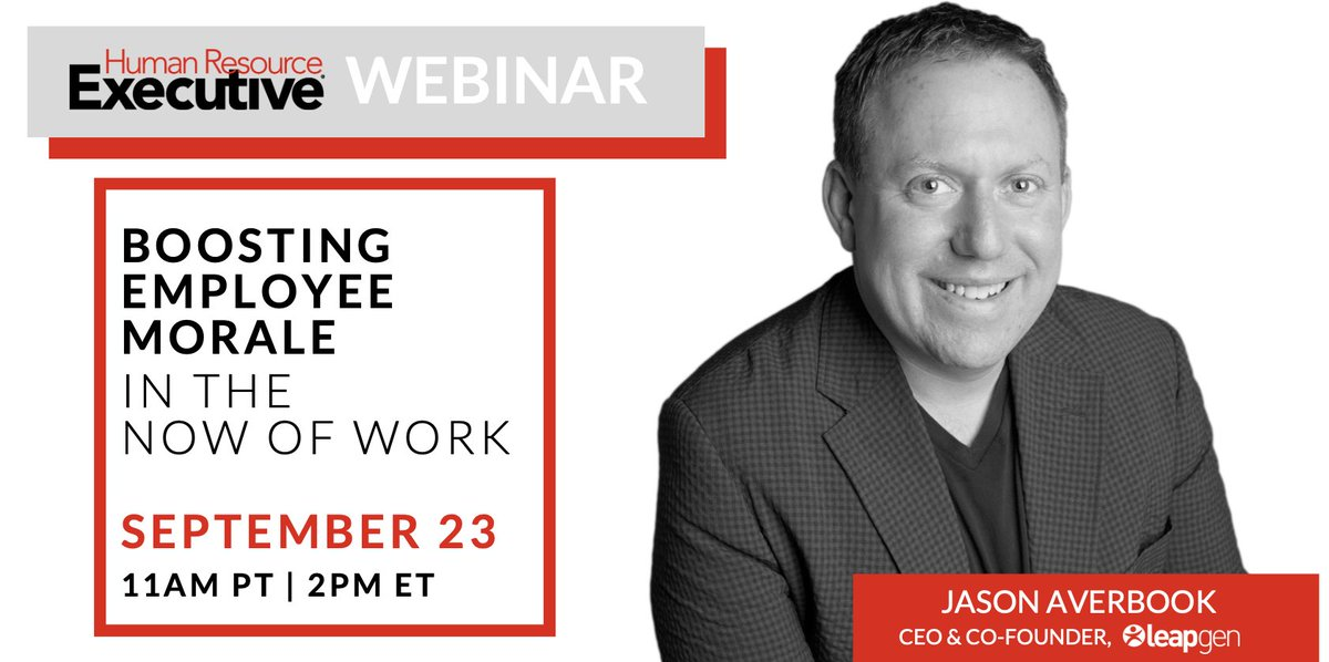 Do good #work. Feel good. Seems simple, but in a time  filled with uncertainty & #disruption it can be tough. Join our @jasonaverbook @HRExecMag this Wednesday 9/23 for a #webinar focused on Boosting Employee #Morale. New solutions shared! Sign up: https://t.co/V3LbI1kdkM #HR https://t.co/7L1xZqWUTf