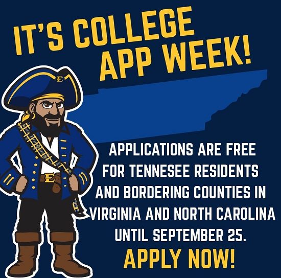 We're celebrating Tennessee College App Week! Residents of Tennessee and the approved NC & VA border counties may apply for free until Friday! Get your application in now with the code welcomehome21.  More info: https://t.co/nT1EO8SDqw https://t.co/75UwYcjZMq