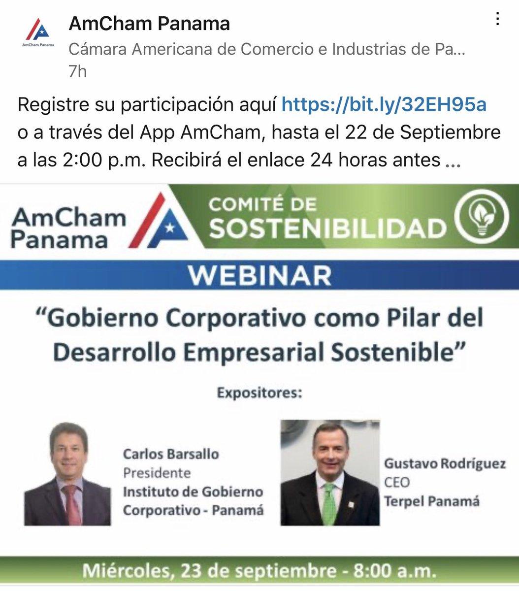 #Panama #corpgov #Gobiernocorporativo #AMCHAM #sostenibilidad https://t.co/eZLdGkuJ9q