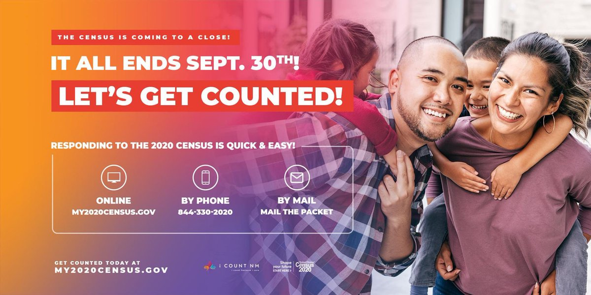 September 30th is your last chance to take your census and get counted for your community! Please, respond today! You can complete your questionnaire online (https://t.co/mAZLyPM46B), by phone (844-330-2020), or by mail. https://t.co/8QdWWzZ4ef