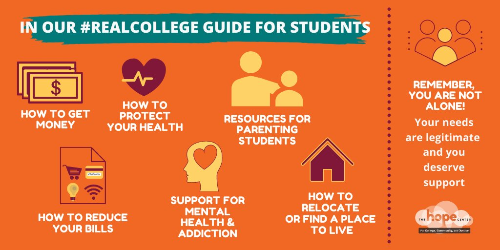 #RealCollege students, we want you to be healthy, believe in yourselves, and feel very proud of your decision to pursue your education. Check out our latest version of #RealCollege Guide for Students w/ updated resources to help you through the pandemic: https://t.co/l3DqlYwZHe