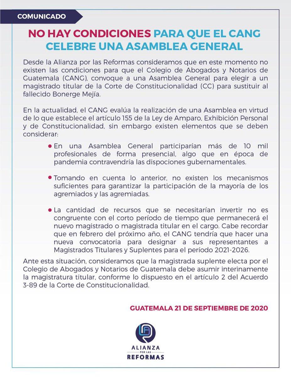 test Twitter Media - Alianza por las Reformas comparte comunicado sobre la sustitución del magistrado Bonerge Mejia en la Corte de Constitucionalidad. https://t.co/JHFCfiuszq