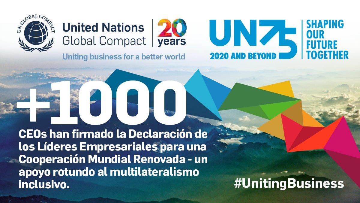 Más de 1.000 CEOs de más de 100 países firman la Declaración a favor de una cooperación mundial renovada del @PactoMundial , nosotros también hemos firmado #Sostenibilidad #CompromisoSocial #UnitingBusiness #ODS16 #ODS https://t.co/FJB5QU6jxr