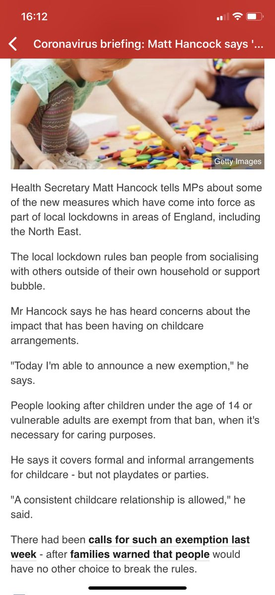 Today @MattHancock announces that #informal #childcare in family homes is exempt from guidance in English local lockdown. No change in #ni local lockdown guidance, I believe? @ClaireHanna @naomi_long @C_Fitz_ @childcare4allni https://t.co/8nNjCyP7jy https://t.co/hd5CXJXsJh