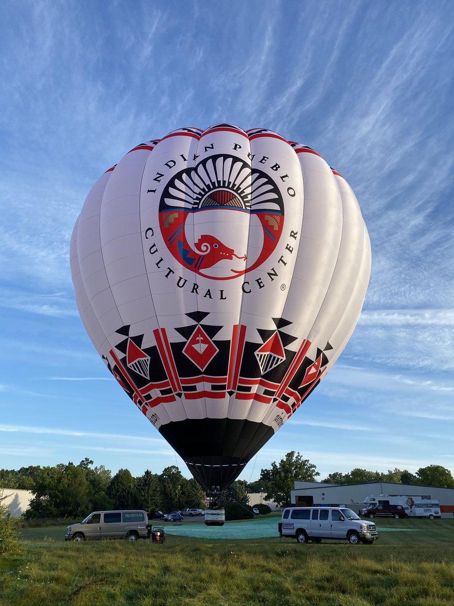 """The @indianpueblo Cultural Center debuts their new hot air balloon in partnership with @RainbowRyders, featuring a unique, Pueblo-inspired design. The balloon's name is, """"Eyahne On The Horizon"""". Eyahne means """"Blessing"""" in Keres. The maiden voyage will take place on 9/25. #TrueABQ https://t.co/4NiqhQ7nEZ"""