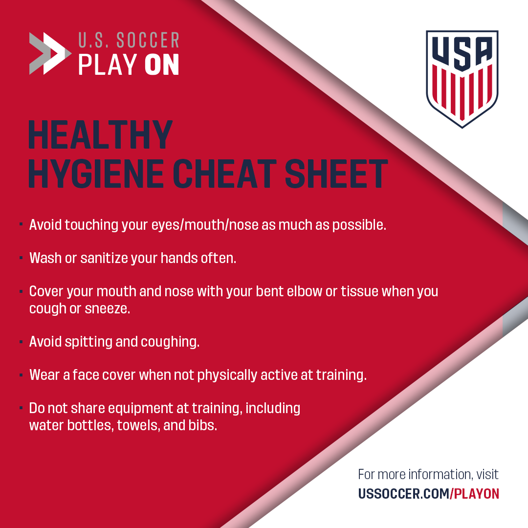 Whether you're a player, coach, referee or parent, healthy hygiene and habits are key for ensuring a safe environment for all! ⚽️ More resources and recommendations for return to play at ussoccer.com/playon