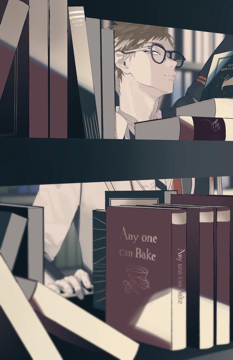 図書室で本棚越しにトレイと目が合う絵