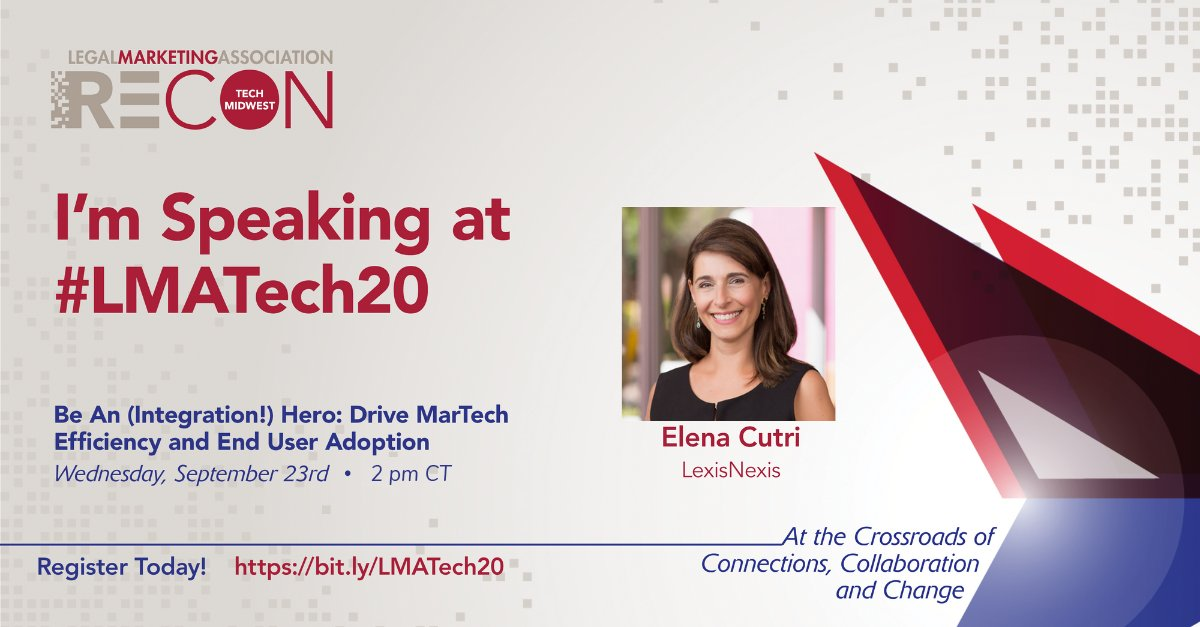 Thanks #LMATech20 for creating a content-rich conference for @LMAMidwest members. Looking forward to learning and presenting! #legalmarketing #interaction @LexisNexisLegal https://t.co/p2XsAHmEb1