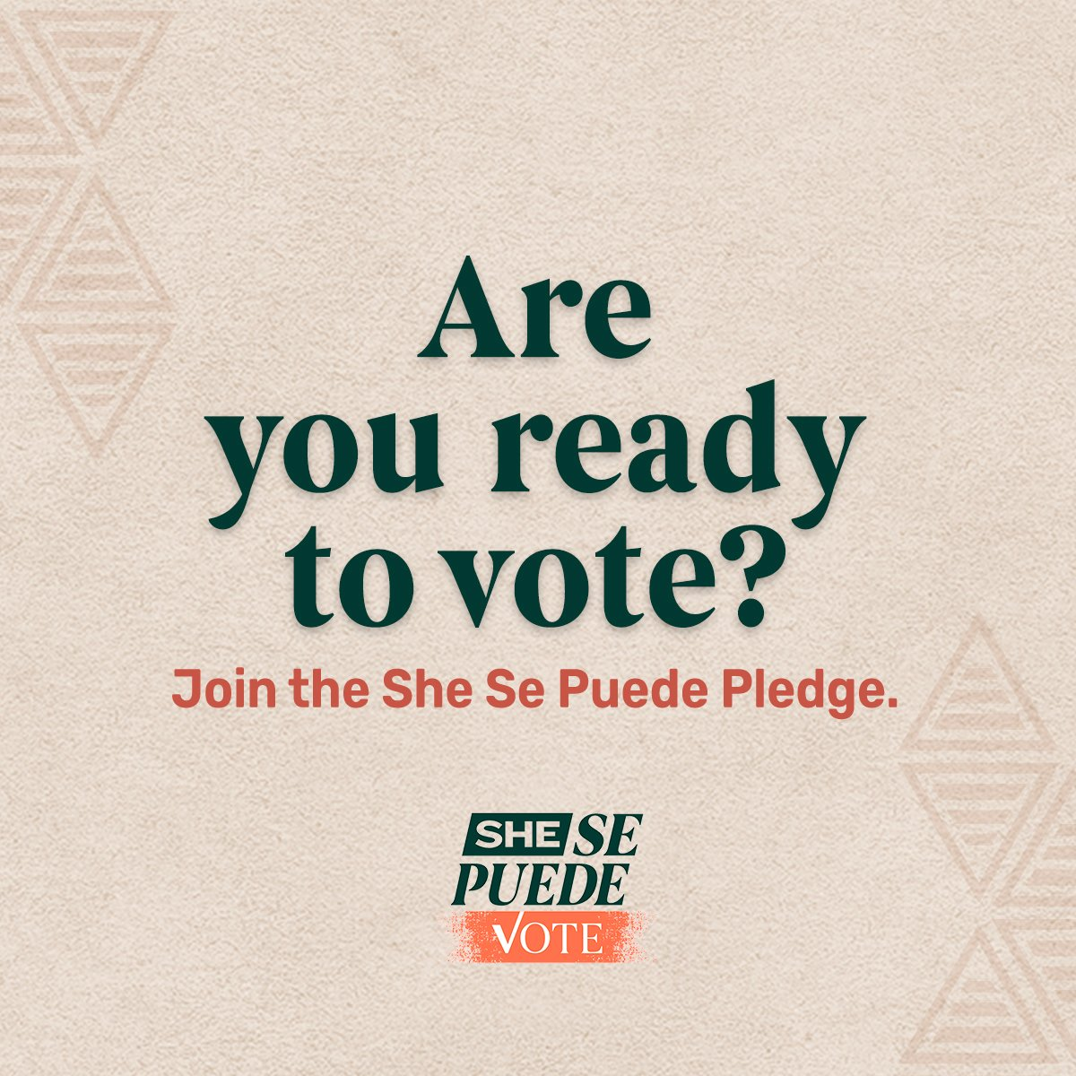 🚨There are only 7 weeks until Election Day🚨 Are you ready to vote? Join the She Se Puede pledge  and retweet + tag 3 friends who should join you. 🗳✨#SheSePuedeVote #SheSePuede  #VoterRegistrationDay
