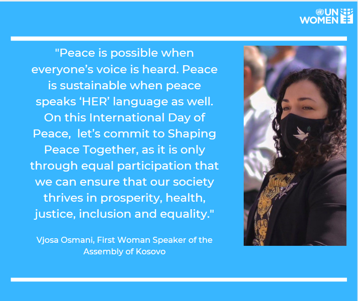 Today we mark the International #PeaceDay. Women have always led, and women will always lead, especially when the times are hard, and their communities are in need. The urgent need for #WomenPeacePower is undeniable.  See a quote by H.E @VjosaOsmaniMP-First Woman Assembly Speaker https://t.co/kEk4LT75Rm