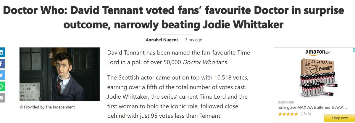 Well @RadioTimes, considering there is only 50K Doctor Who fans left. Only 10K being The First Female Doctor Played by Jodie Whittaker fans. We all know this is still a bunch on crap..but nice try. Tom baker in 5th place? Pertwee in 9th? 🤣🤡🤣🤡🤣  👇 #RIPDoctorWho https://t.co/TRvfwHJWc1