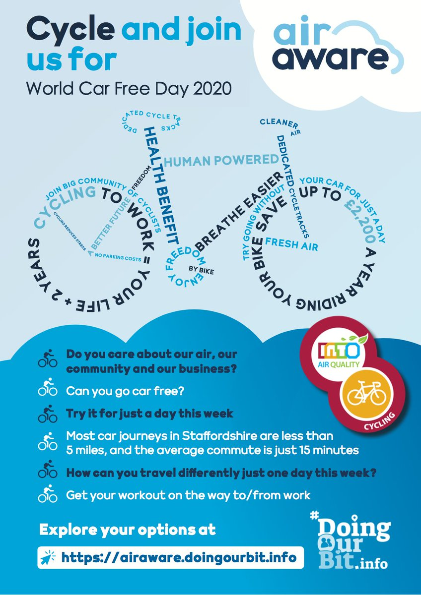 It's #WorldCarFreeDay tomorrow!  How can you leave the car at home for just a day?  Explore all your options at https://t.co/oxcS6Tp3M8  Active Travel Staffs #activetravelstaffs https://t.co/sVubQzSOX5