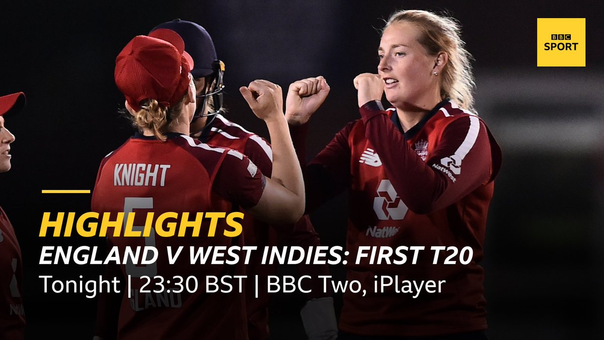 Watch all the highlights from the first T20 between England and the West Indies 🗓 Tonight ⏰ at 23:30 BST 📺 on @BBCTwo or later on @BBCiPlayer HERE 👉 bbc.in/2FYN1x6 #bbccricket #ENGvWI #WomensCricketMonth