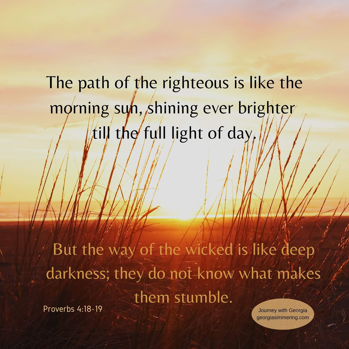 Proverbs  #journeywithgeorgia #jesusmyanchor #biblemyroadmap #path #righteous #sun #shining #day #wicked #darkness #stumble https://t.co/Bk5XaXRaU9