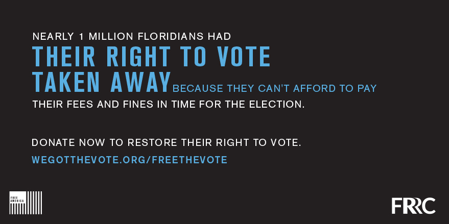 Florida's pay-to-vote system stops formerly convicted individuals with fines & fees from voting. Donate to https://t.co/kOfocOslJd NOW so that everyone can register by 10/5. @flrightsrestore #FreeTheVote https://t.co/EAGS7HzdaS
