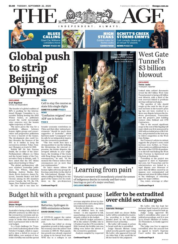 The Age front page for September 22, 2020. Read more online: https://t.co/jI69MmqQE4 https://t.co/rxNcRnkEva