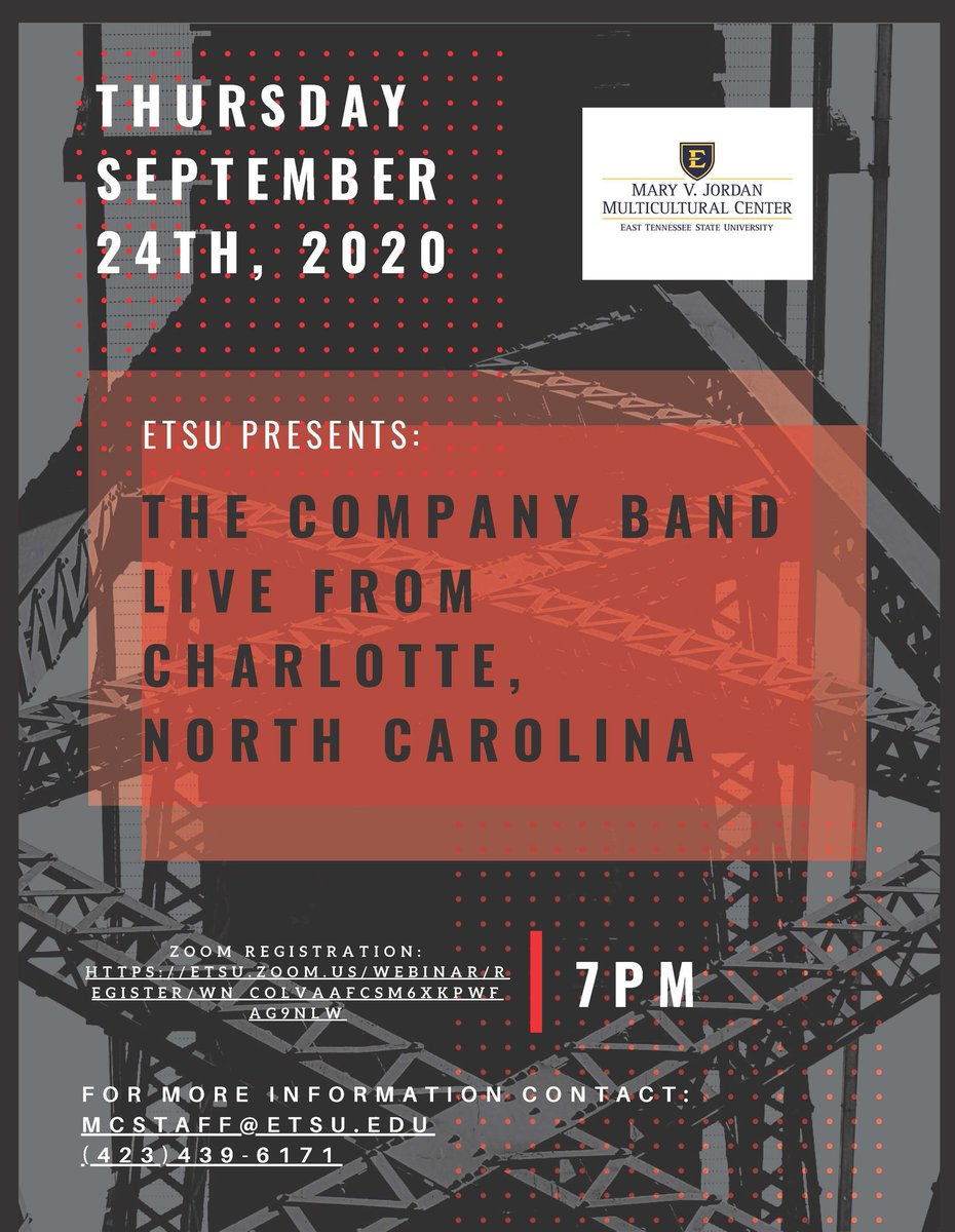 Register now to see  @TheCompanyBand1 perform LIVE from Charlotte, NC, this Thursday at 7 PM!  @etsu @ETSU_BAA @etsumcc https://t.co/XqIXexrMvH