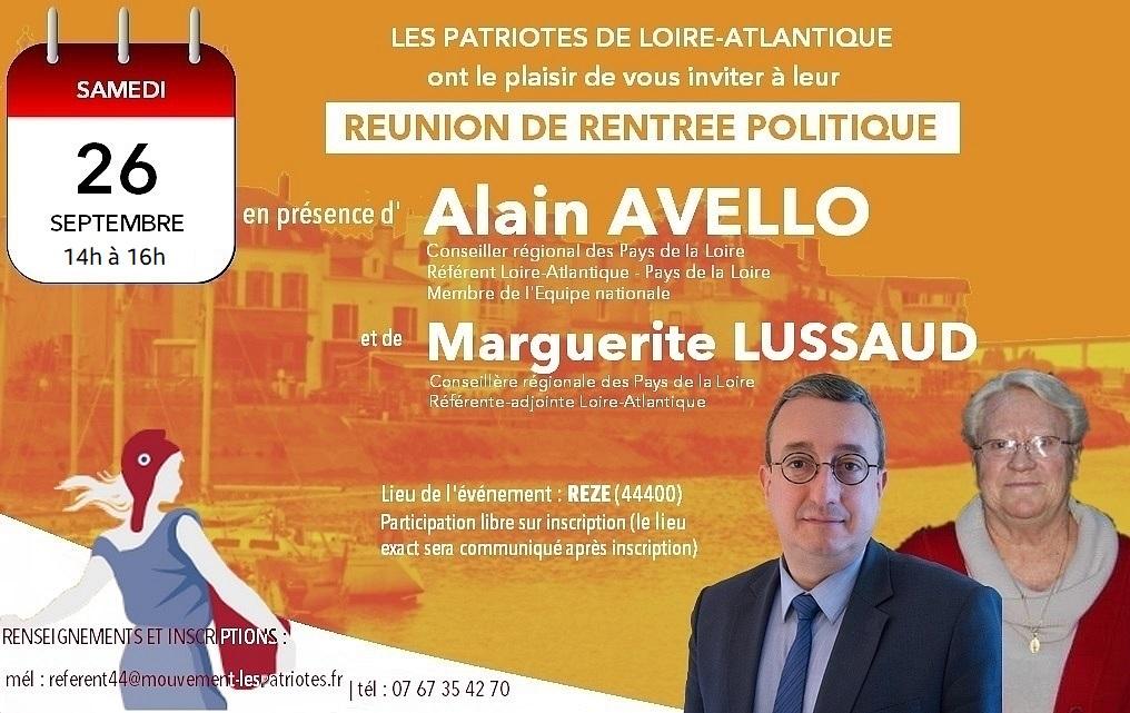 Ce samedi, à partir de 14 heures (attention : l'horaire a été avancé !) @_LesPatriotes de #LoireAtlantique feront leur rentrée politique : réunion militante à #Rezé, en présence de @MLussaud et de moi-même, conseillers régionaux, avec un ordre du jour chargé. Nous vous attendons. https://t.co/Qz5UIsrJxp
