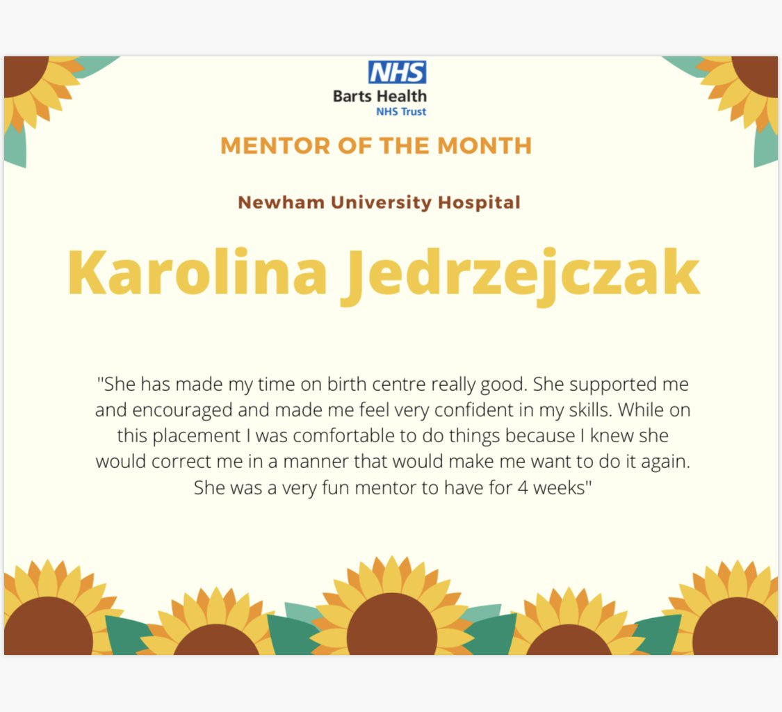 Our mentor/ PS of the month is... Karolina! Mentors deserve recognition too, especially when they are as encouraging as this lovely midwife! @NewhamHospital #Midwife https://t.co/ZbWXeIpjF1