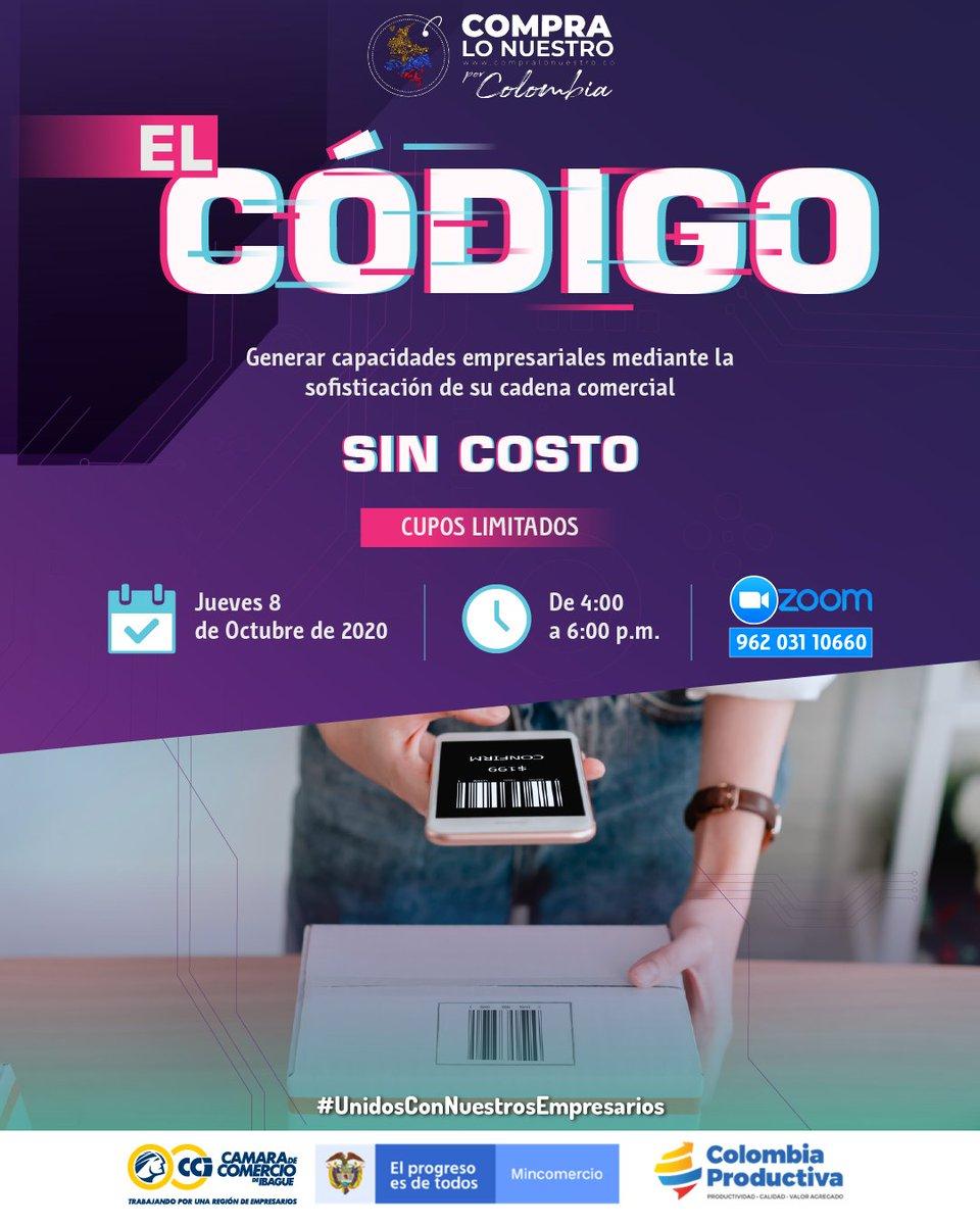 """📣Este 8 de octubre conéctate a la conferencia """"El Código"""" que realizaremos en alianza con @Col_Productiva  y """"Compra Lo Nuestro"""", donde tendrás la oportunidad de vincularte a importantes iniciativas que te harán vender más y mejor.💵  ⌚4:00 pm  #Zoom👇 https://t.co/4zNWkHtsQE https://t.co/lQBr8zUPqx"""