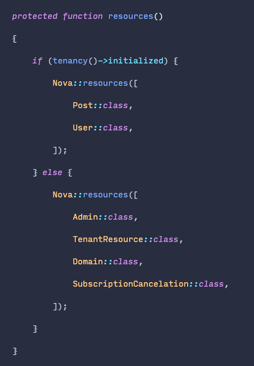 Laravel Nova lets you show different resources/tools/cards/... based on an if check