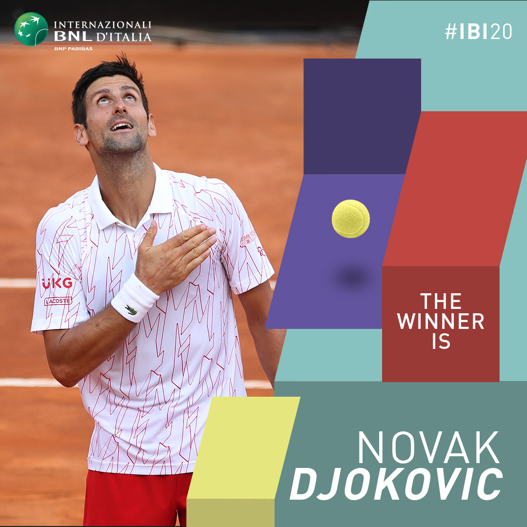 👑 @DjokerNole sits down again on Rome's throne! 👑 #IBI20 #ATP https://t.co/zXOVWqoBZ9