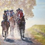 """'Hot 'n' Dusty'. Oil. 34"""" x 23"""". With thanks to @sqweezy for use of reference photos @HambletonRacing @omeararacing @GrahamGibbons4 @charleeheard #racehorses #equestrian #equestrianart #exhibition #BalticBaron #Spiorad"""