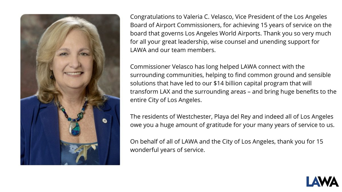 Congratulations to the Los Angeles Board of Airport Commissioners Vice President Valeria Velasco for reaching 15 years of service on the board! https://t.co/mJA28Tyqa8