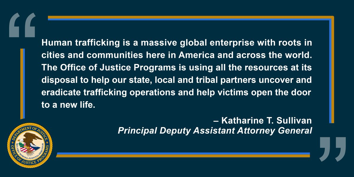 The Office of Justice Programs has awarded $101 million in funding to help combat #humantrafficking and provide vital services to trafficking victims throughout the United States. #endtrafficking https://t.co/TsQpDgcjNf https://t.co/ZUBkjr0OHz