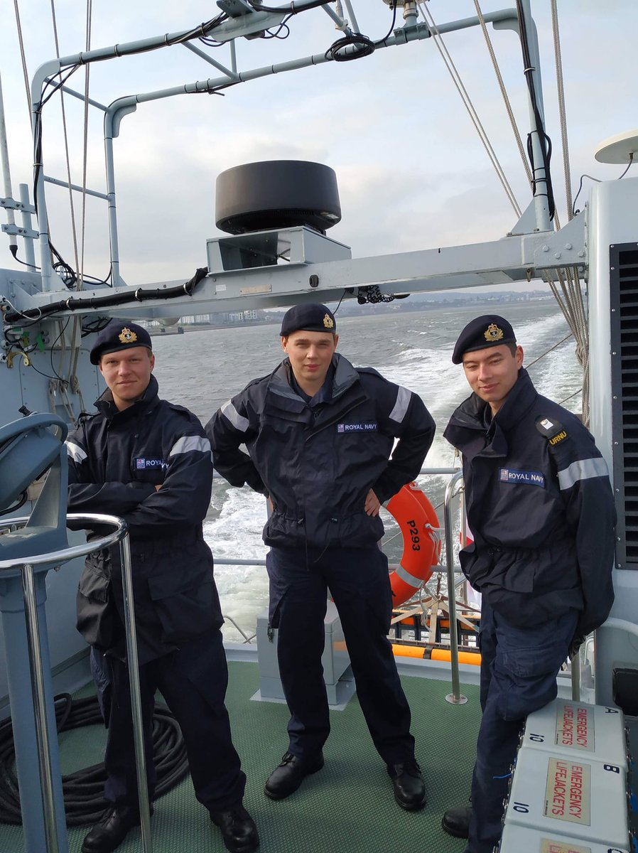 #LearnTodayLeadTomorrow 2 Officer Cadets from @GSURNU joined us onboard @HMS_Ranger. Sailing from the port of Leith up to Peterhead. Time at the helm, navigation and seamanship all in a day at sea. @RNinScotland @DartmouthBRNC @Lowland_RFCA