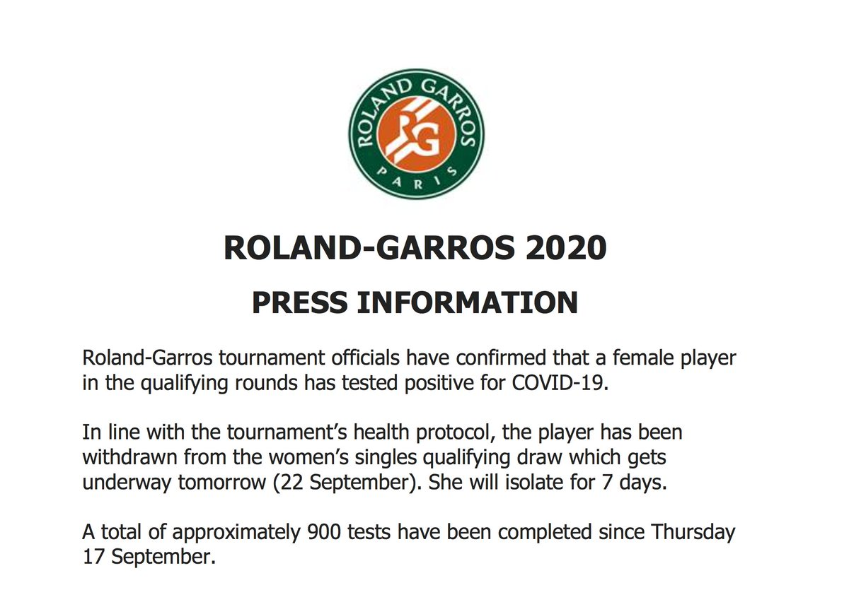 Roland-Garros tournament officials have confirmed that a female player in the qualifying rounds has tested positive for COVID-19. In line with the tournament's health protocol, the player has been withdrawn from the women's singles qualifying draw which gets underway tomorrow. https://t.co/nH77bHKOhB