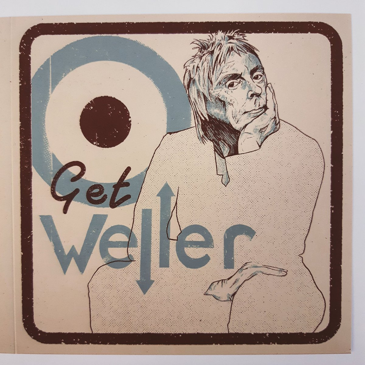 New! I'm creating a series of #giftcards They will all feature my #illustrations be totally #handmade by me.  Featuring #icons #cultural #figures from #music and #TV #film This one is a #getwell #card featuring the #modfather #PaulWeller  #cultstatus #screenprint #retro #vintage https://t.co/DKzt5E1Es0