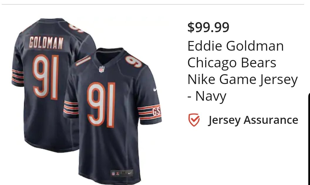Hey @wasram Idk if you saw, but a handful of times youve mentioned not being able to find an Eddie Goldman jersey. They have them on @Fanatics!