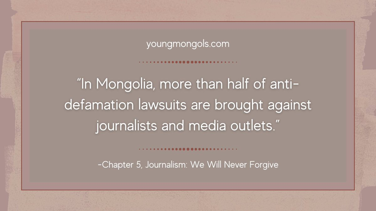 Read more in Chapter 5 of #YoungMongols, Journalism: We Will Never Forgive. #Journalism #Mongolia #FreePress #Media https://t.co/A9Cdqo13P0