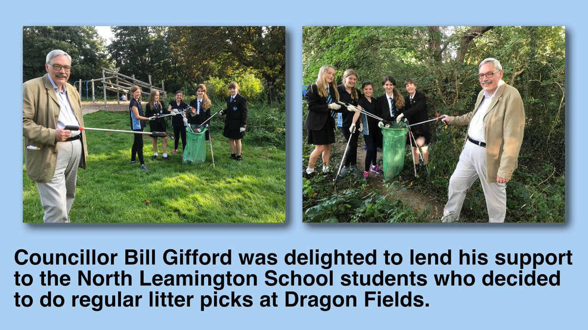 Councillor Bill Gifford was delighted to lend his support to the North Leamington School students who decided to do regular litter picks at Dragon Fields. @NorthLeamington @NorthLeam @cleanupbritain @Warwick_D @KeepBritainTidy #KeepBritainTidy #Leamingtonspa #warwickshire https://t.co/6EGiGNxiO0