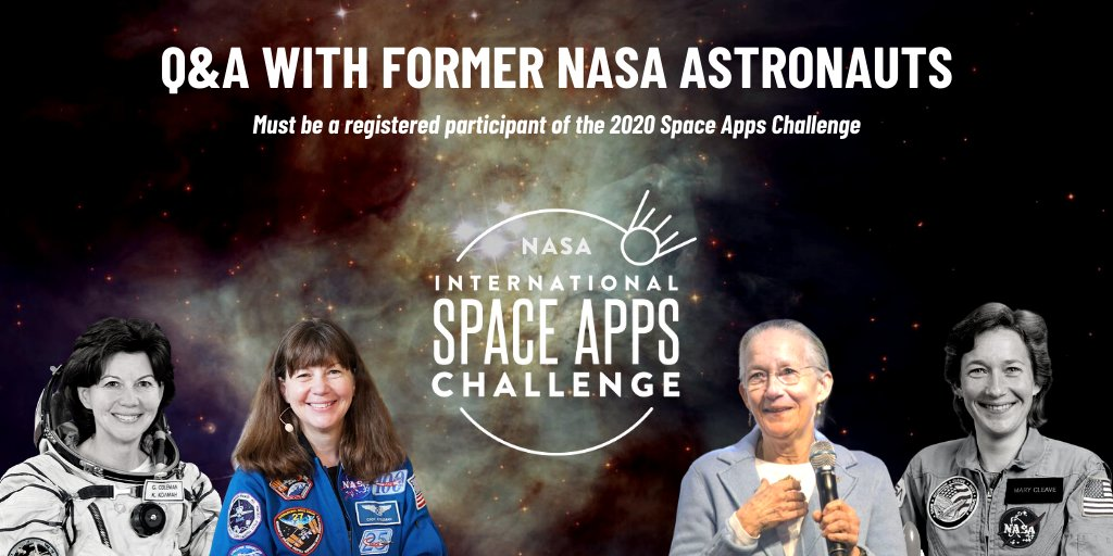 We have a very EXCITING opportunity for #SpaceApps registered participants! Were teaming up with @Astro_Cady and Astronaut Mary Cleave as they share their @NASA experience and answer YOUR questions. Register to be included in this once-in-a-lifetime Q&A! spaceappschallenge.org